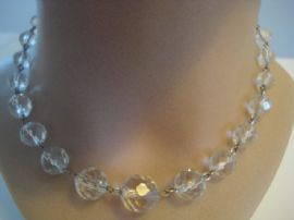 1930's Art Deco Necklace - Faceted Glass Crystal Beads with Rolled Gold Wires(sold)